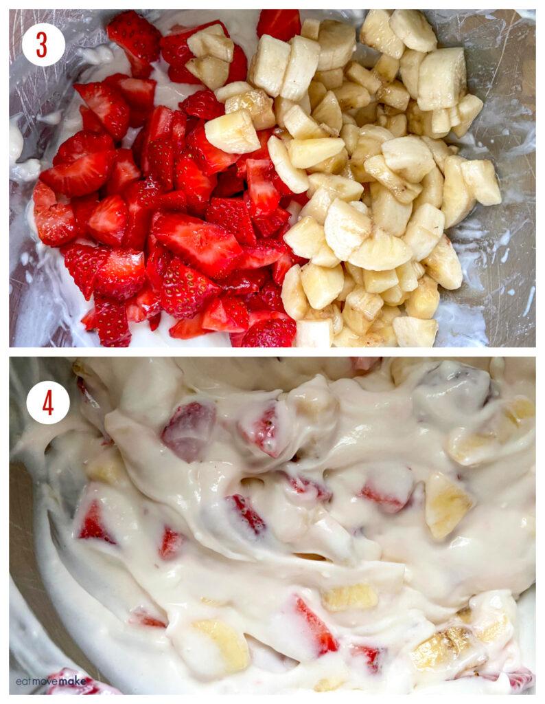 mixing strawberries and bananas into cheesecake salad