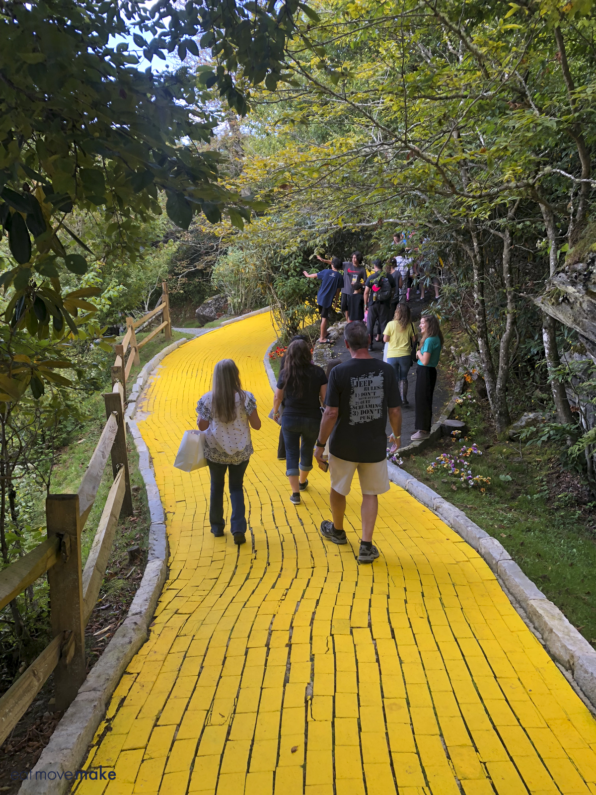 people walking on yellow brick road