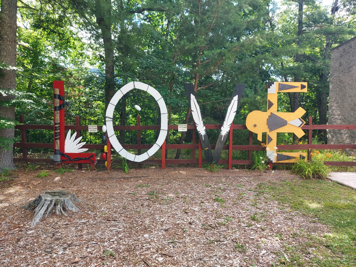 Virginia LOVEWorks sign at Wolf Creek Indian Village & Museum