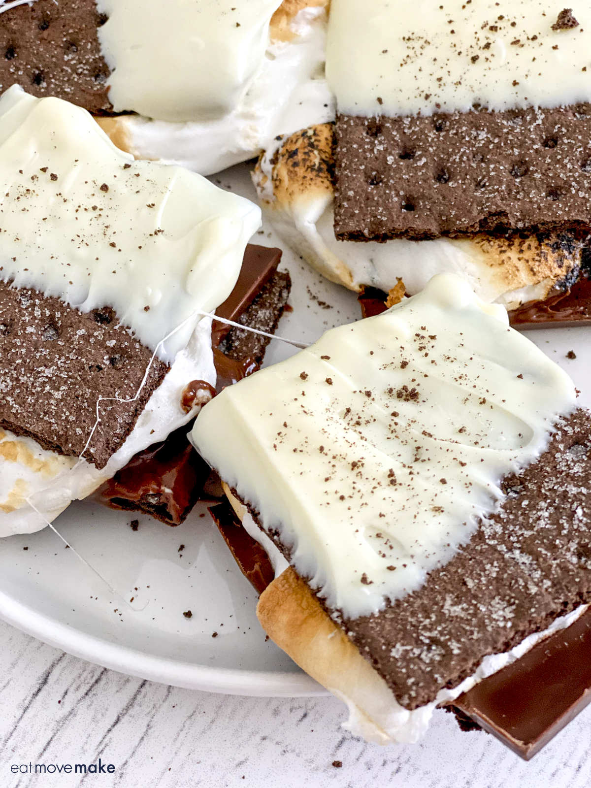 black and white s'mores on plate