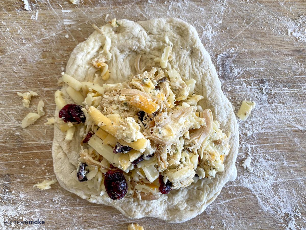 chicken mixture on calzone dough