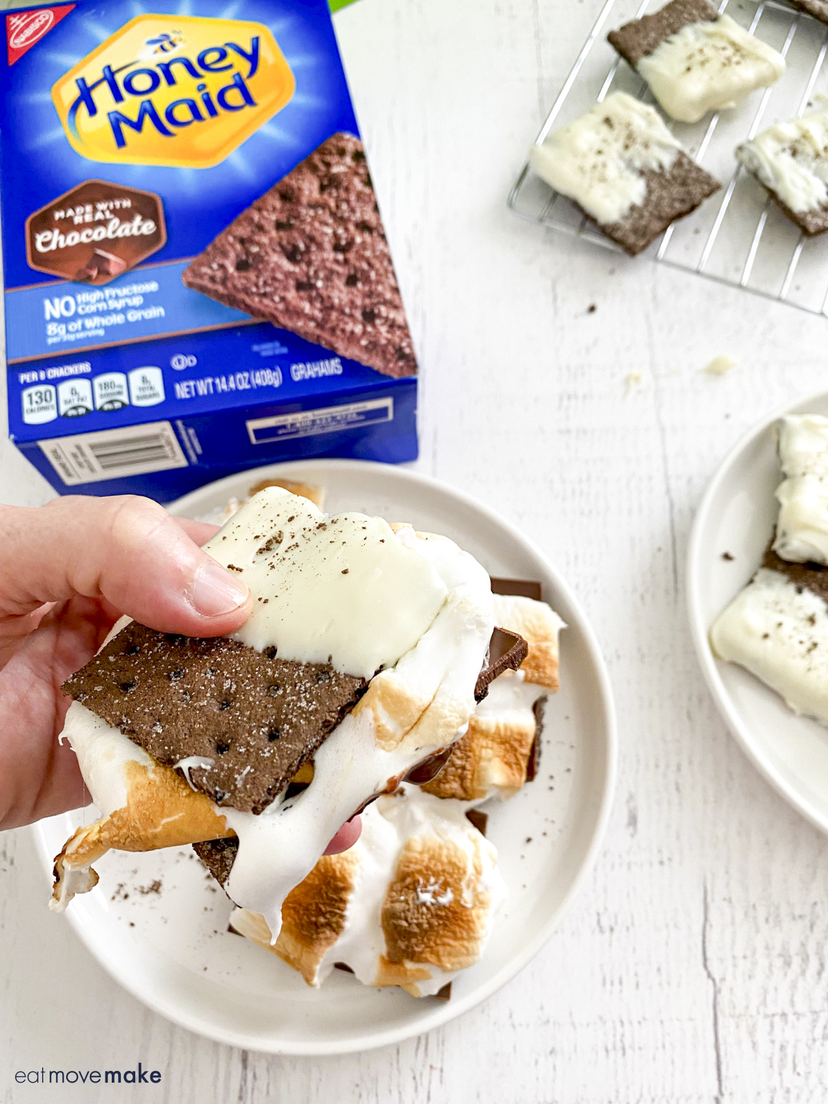 hand holding melted smores