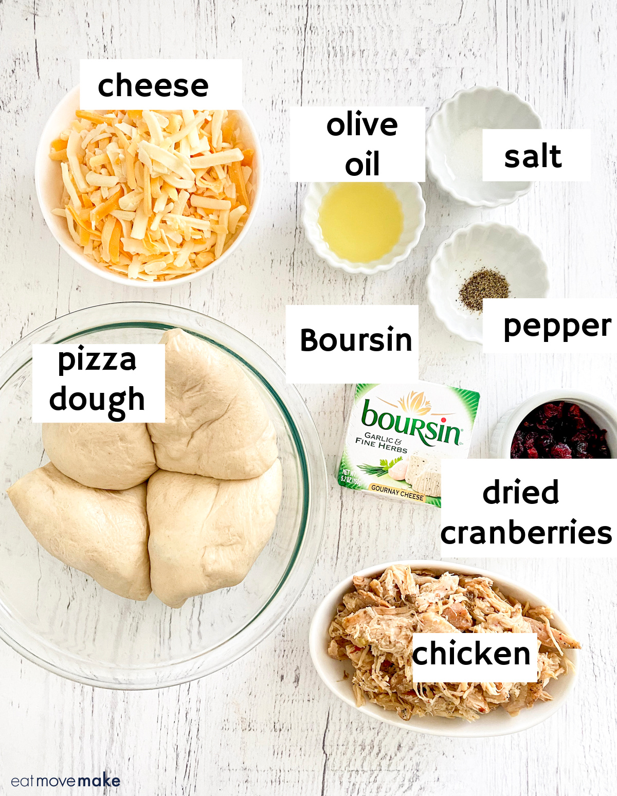 labeled ingredients for Thanksgiving calzones