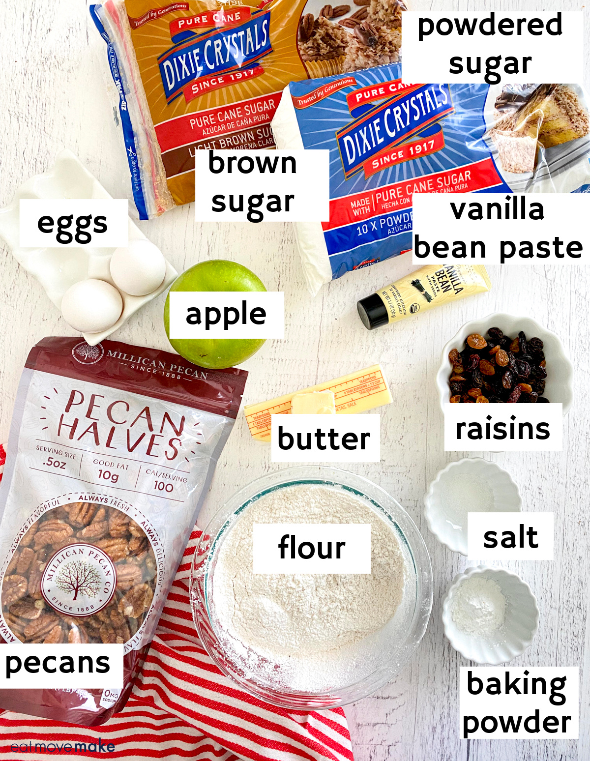 labeled ingredients for apple brownies with brand products