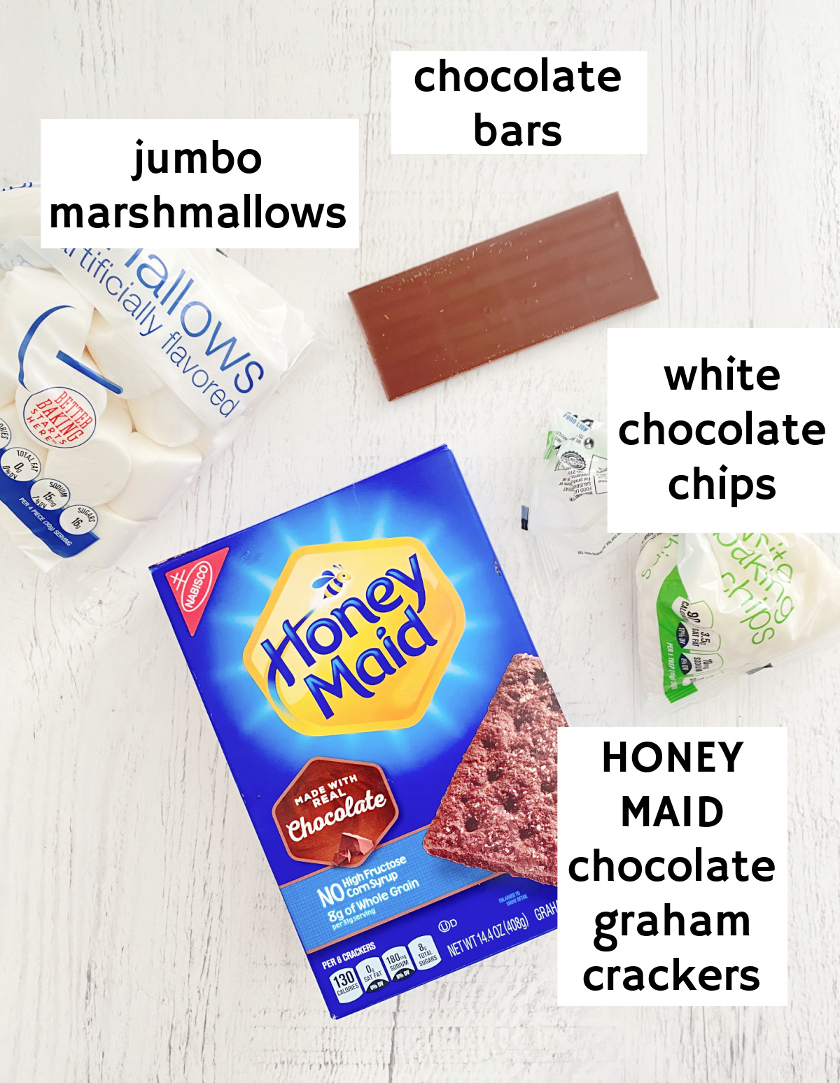 abeled ingredients for black and white s'mores