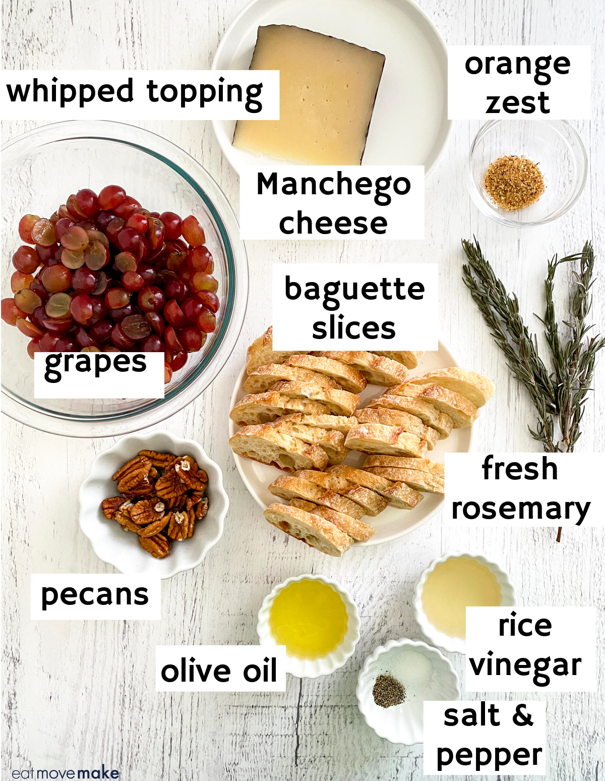 labeled ingredients for roasted grapes crostini