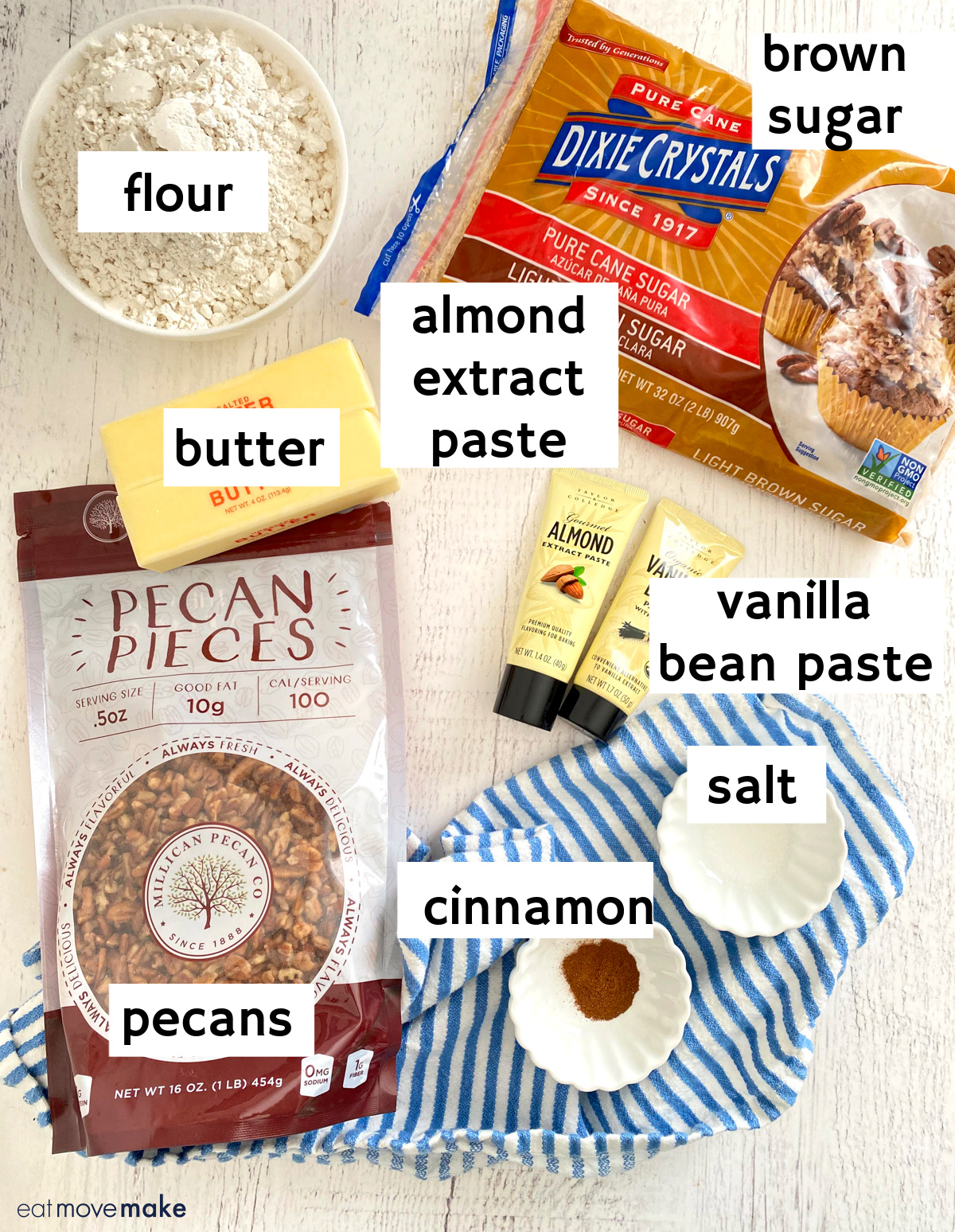 labeled pecan cookie ingredients with brands