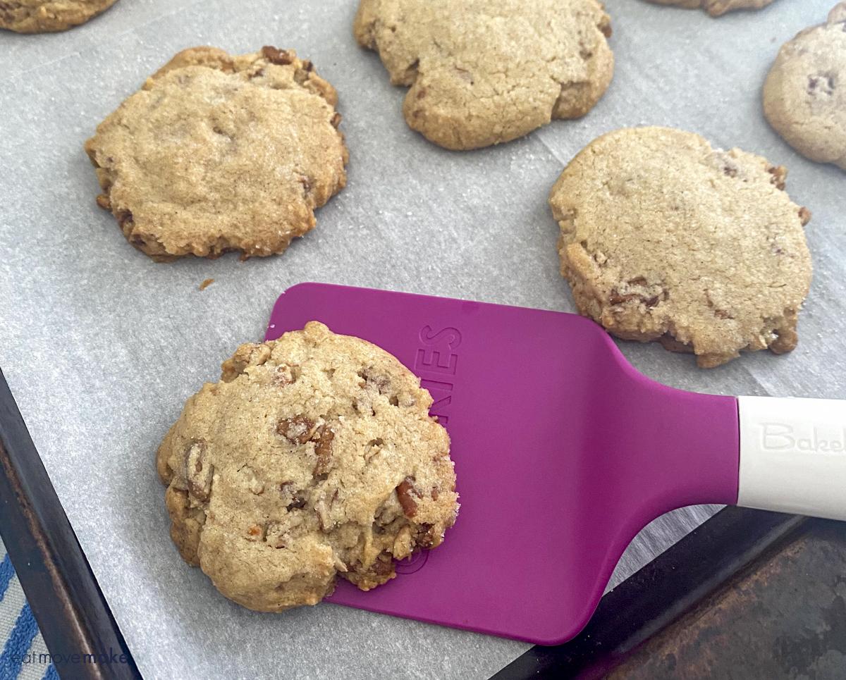pecan shortbread cookie on spatula