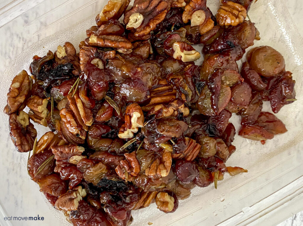 roasted grapes with pecans in container