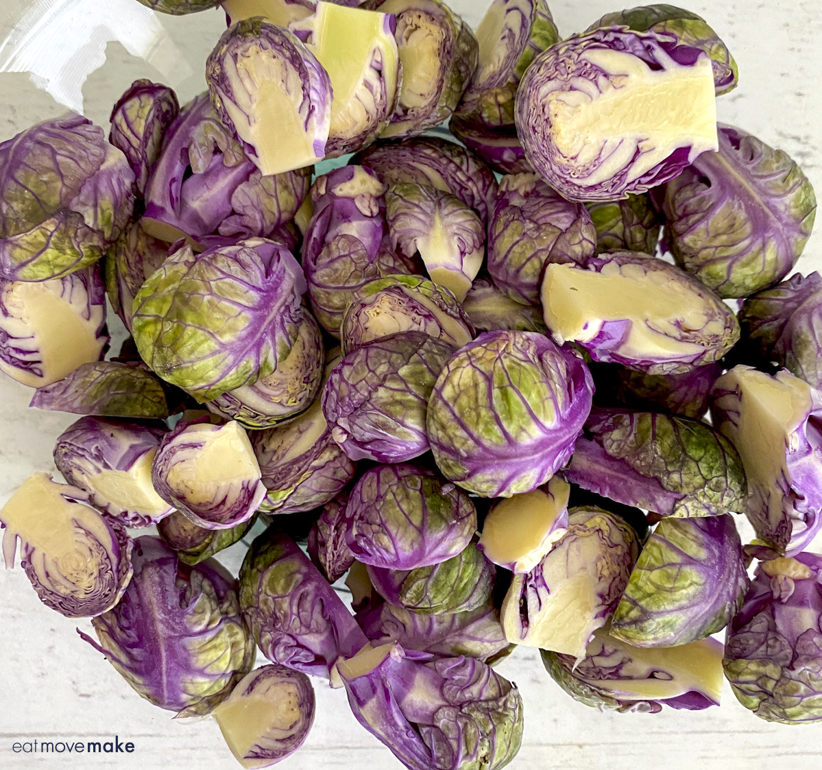trimmed and cut purple brussels sprouts