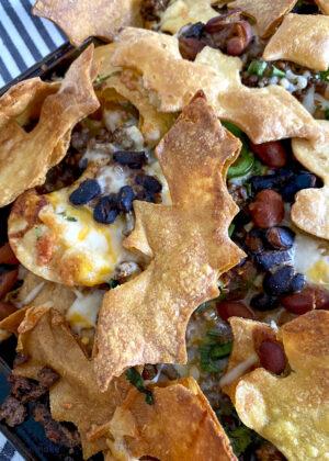Halloween nachos close-up