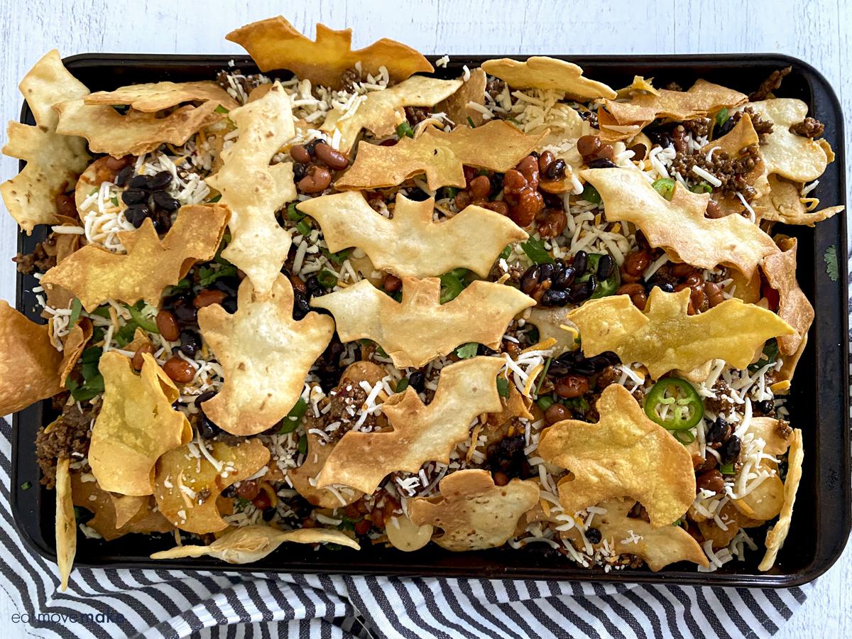 Halloween nachos ready for baking