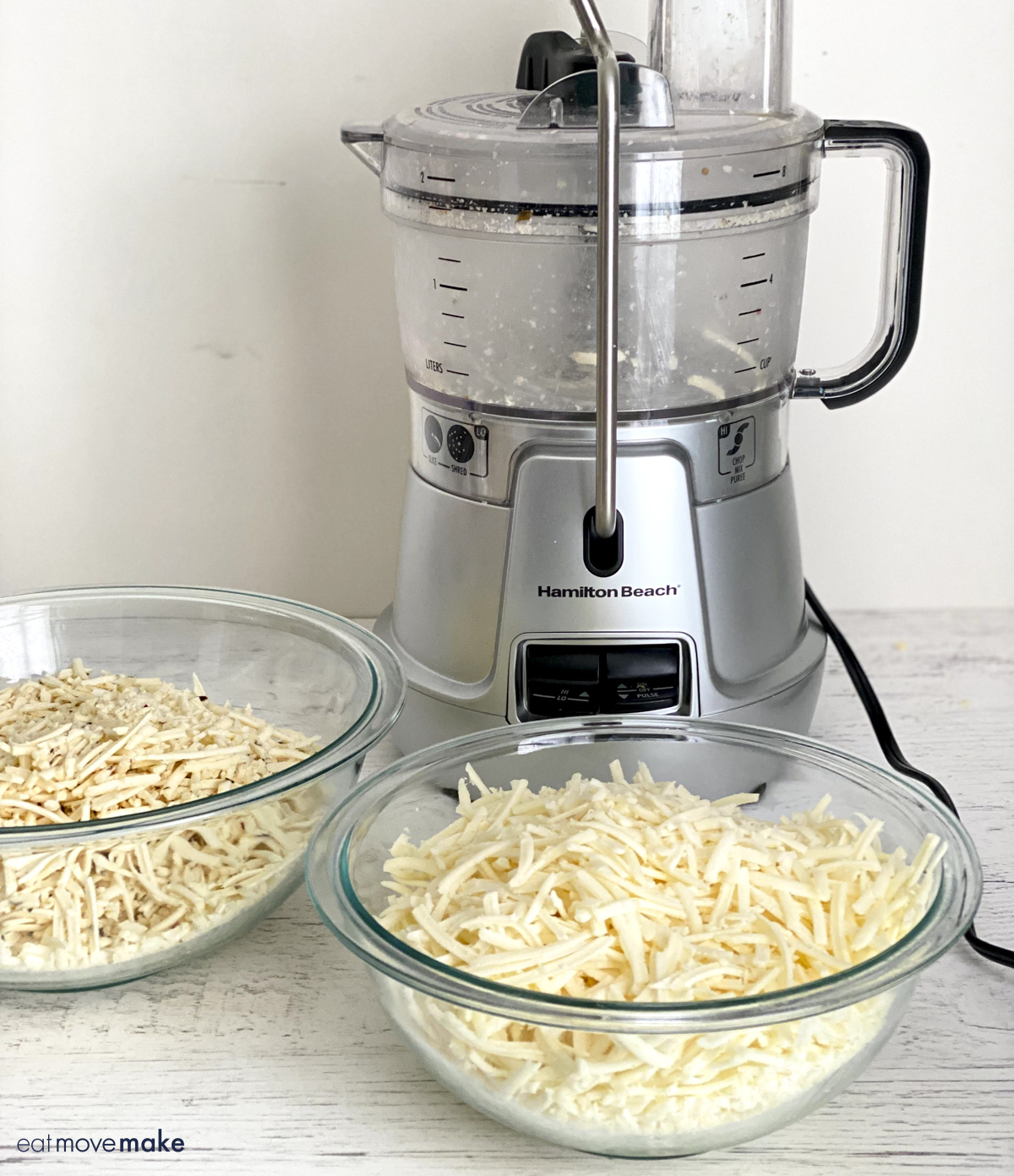 Hamilton Beach food processor with shredded cheese