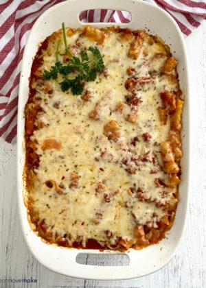 baked ziti in casserole dish