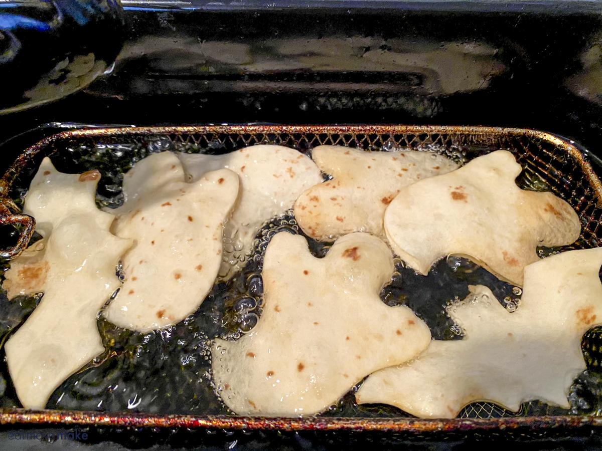 frying Halloween tortillas