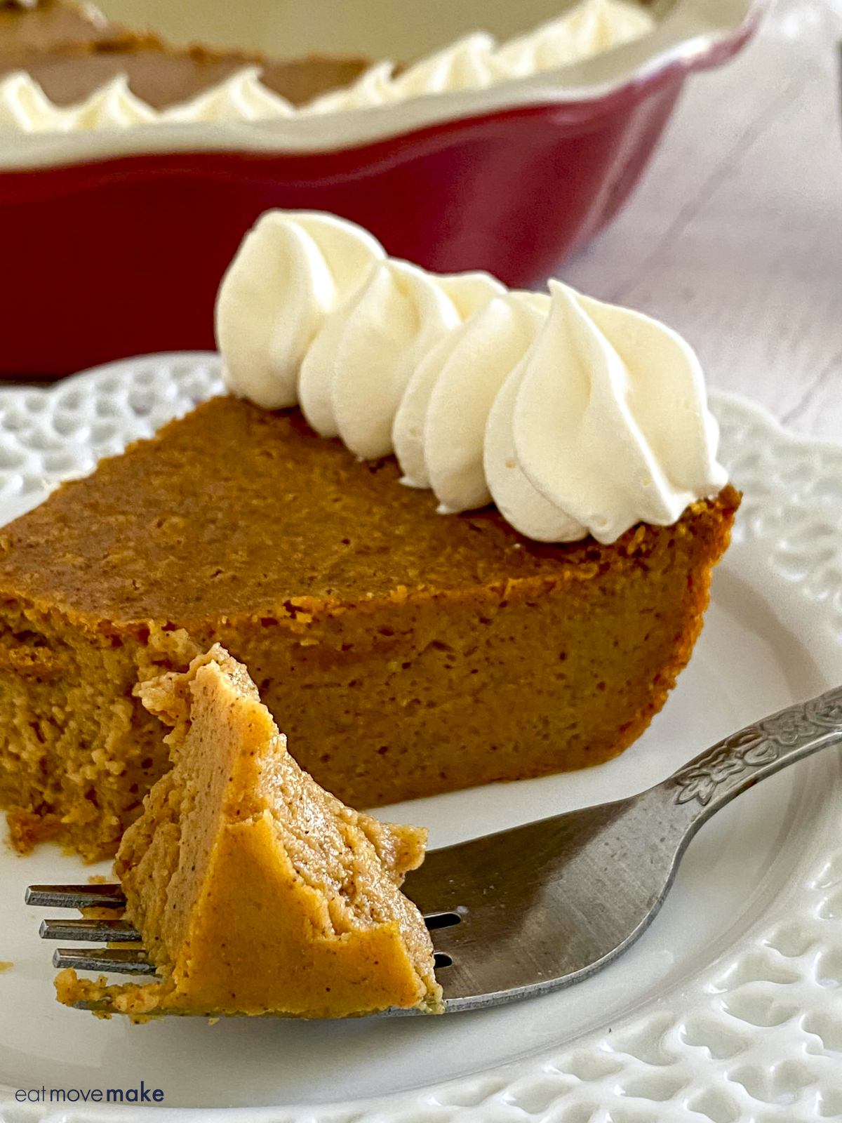 impossible pumpkin pie on plate with piece on fork