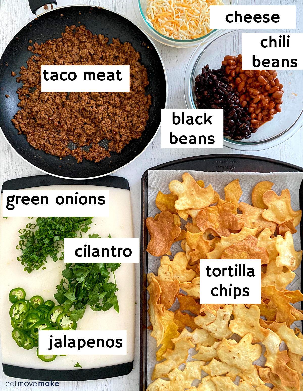 labeled ingredients for Halloween Nachos