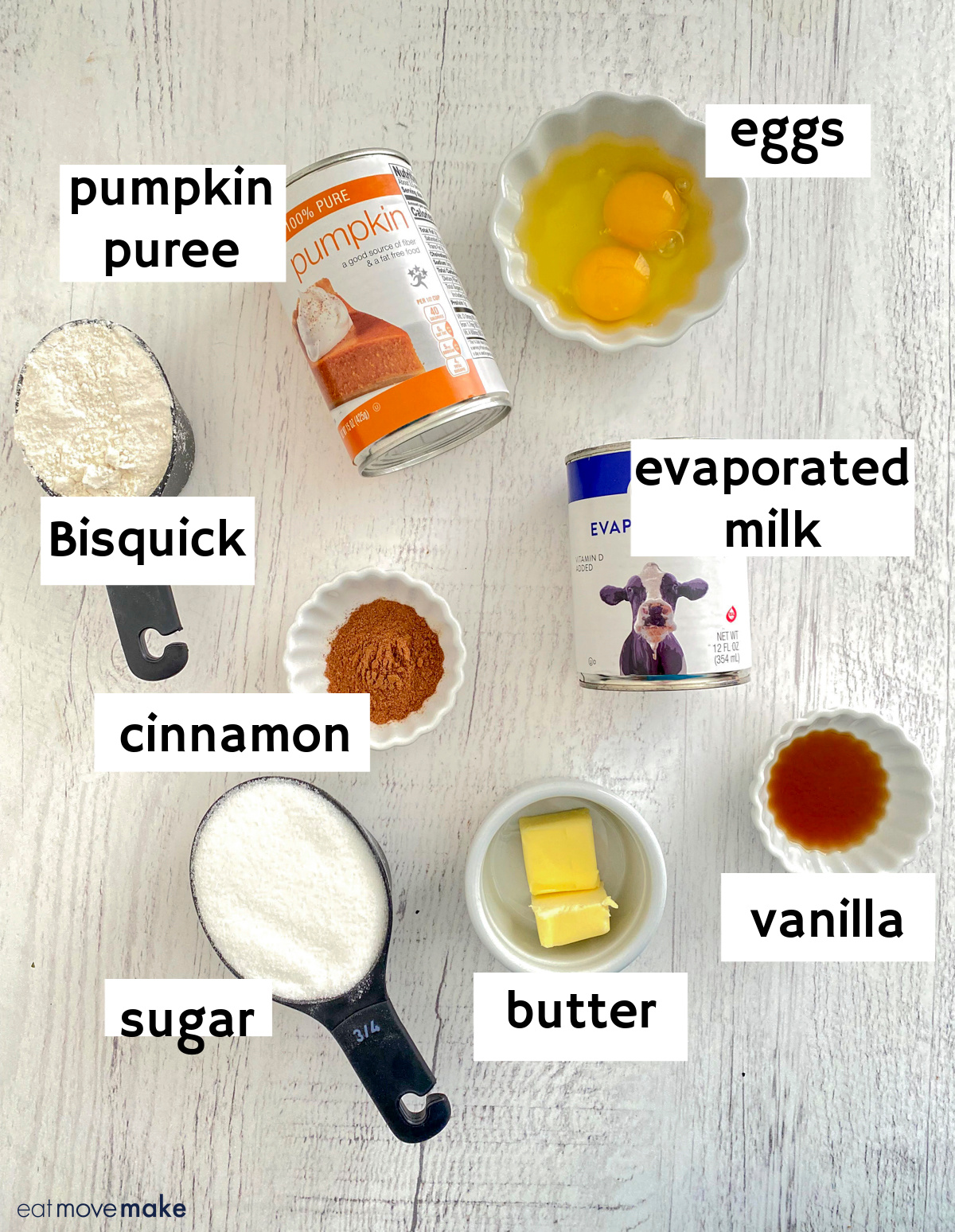 labeled ingredients for impossible pumpkin pie with Bisquick