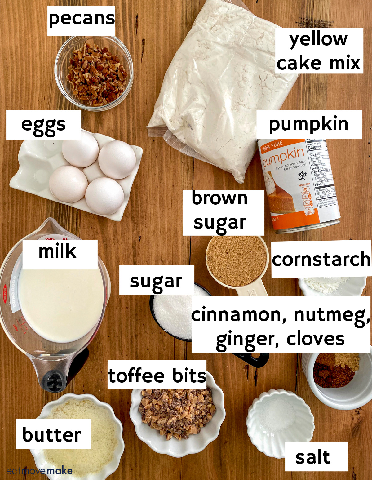 labeled_ingredients for pumpkin toffee crunch cake