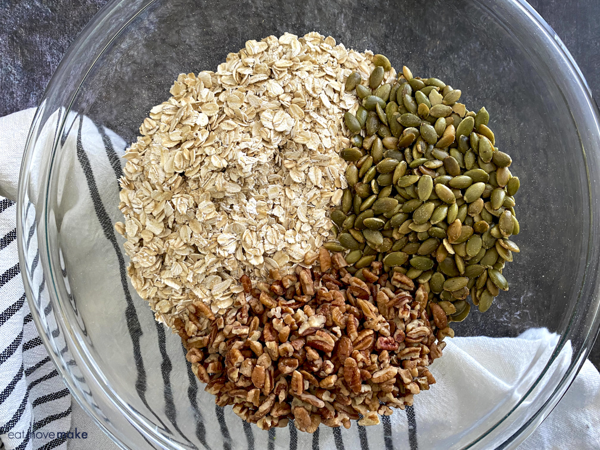 pepitas, oats and pecans in bowl