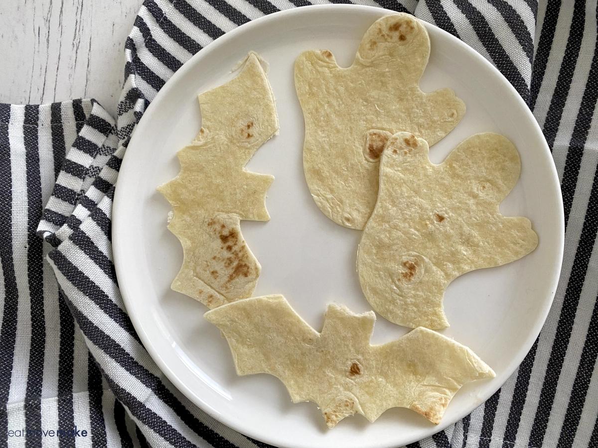 pumpkin and ghost shaped tortilla cutouts