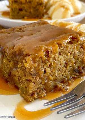 pumpkin toffee crunch cake with caramel drizzle