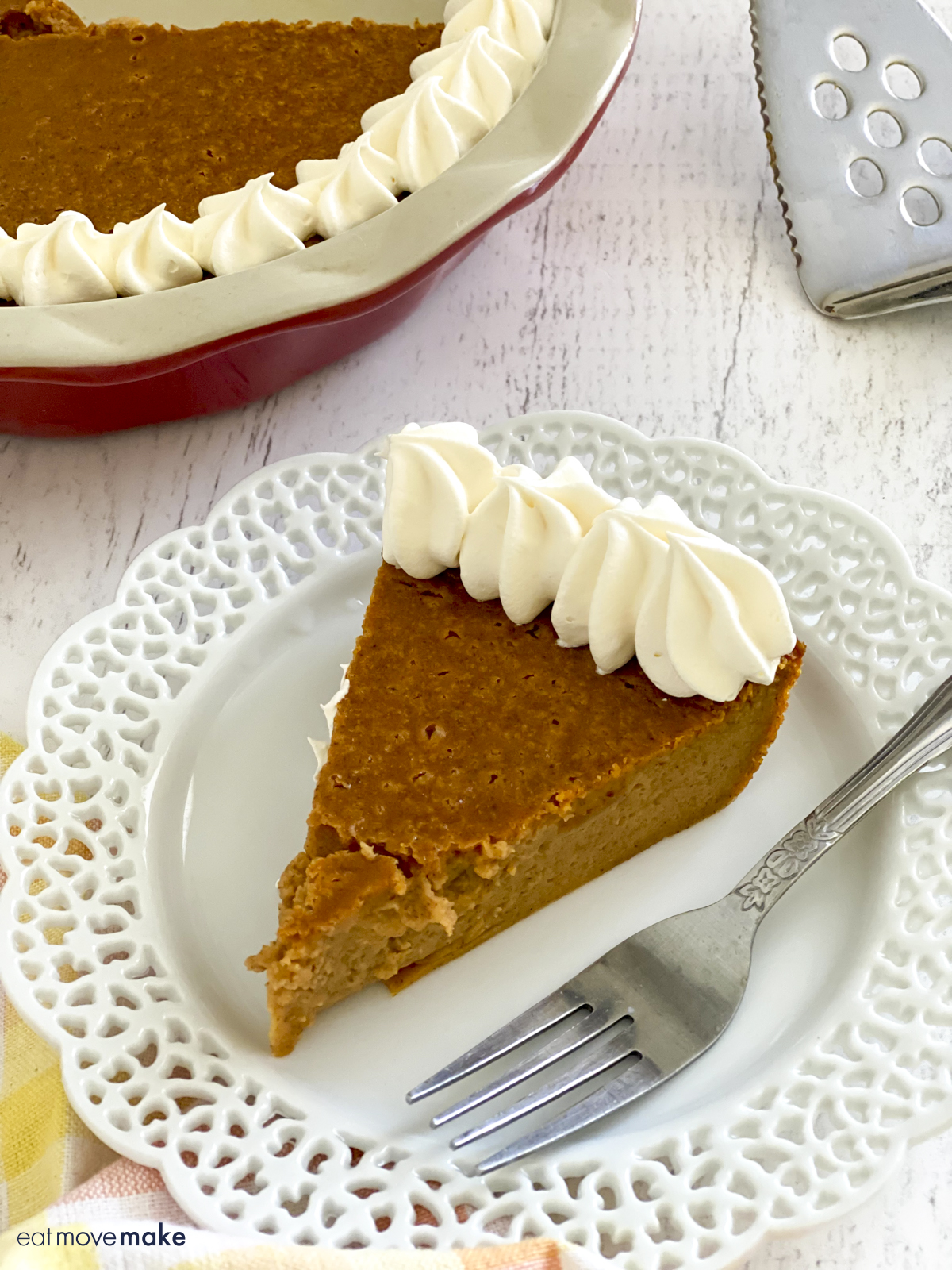 slice of pumpkin pie on plate with fork