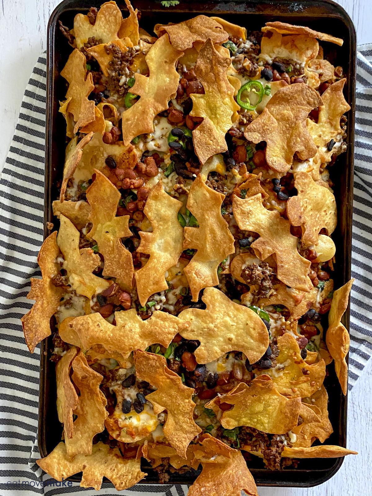 tray of Halloween nachos