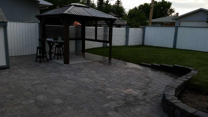 Brick patio with gazebo for gallery