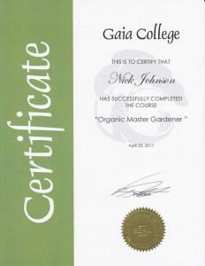 Organic Master gardener certification Contact Me