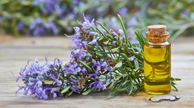Rosemary Essential oils in bottle with flower