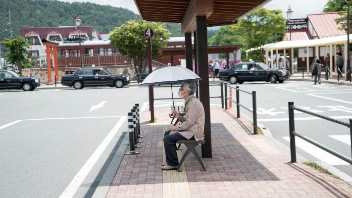 Devant la gare de Kawaguchiko