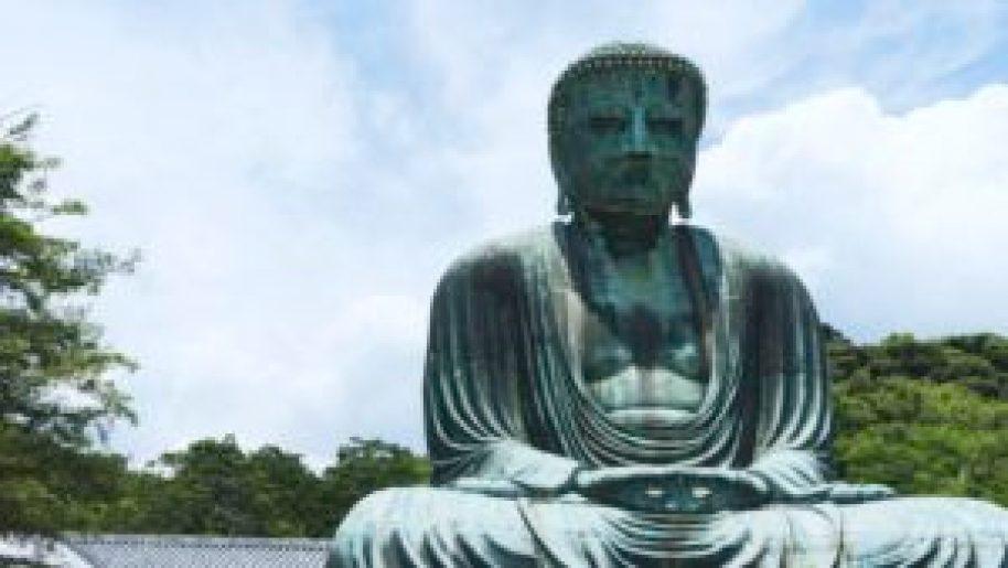 Le grand buddha de Kamakura de face