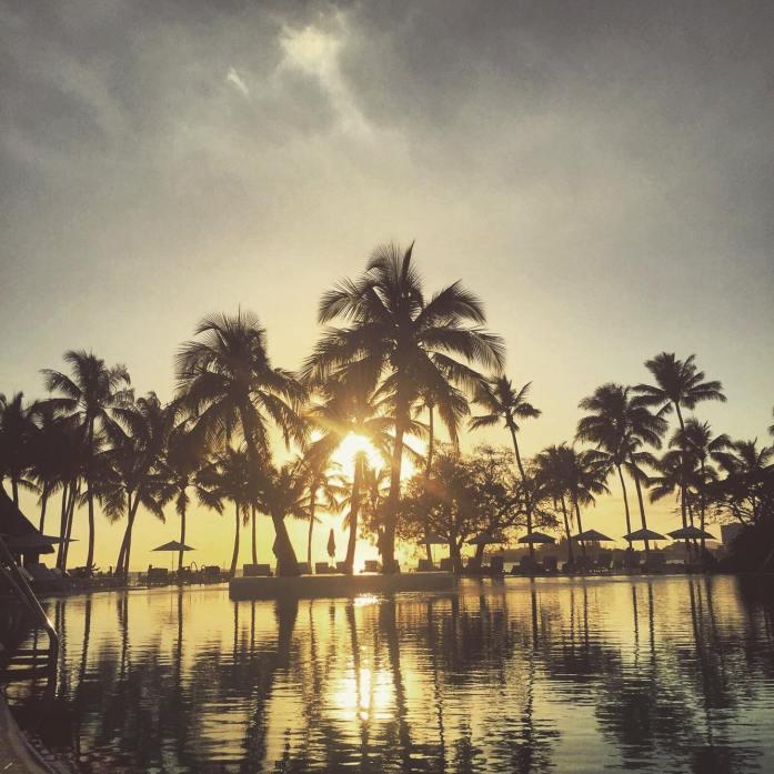 Coucher de soleil et palmiers à Nouméa