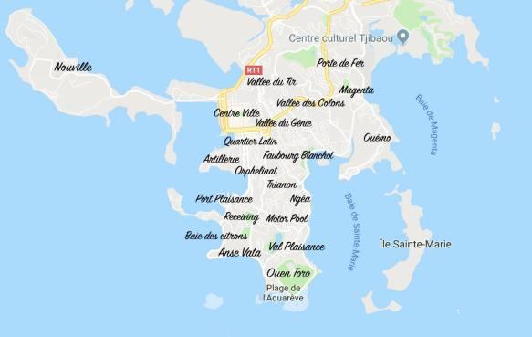 Plan Nouméa par quartiers