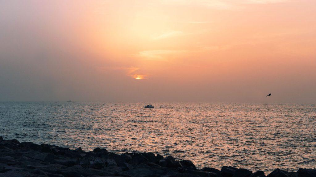 coucher de soleil depuis la palm de Dubaï