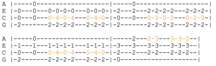 u2 - one - ukulele tabs with colour