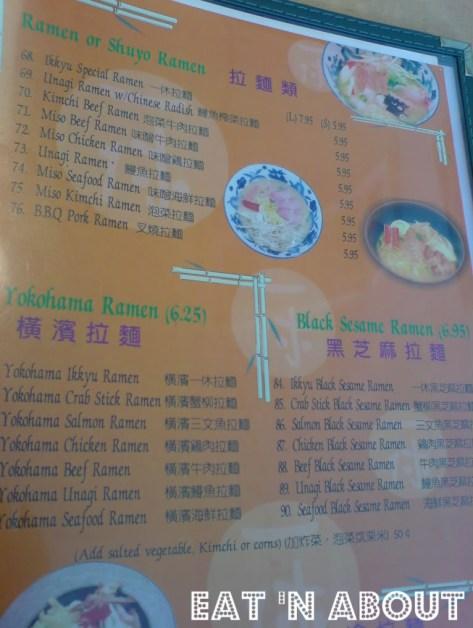 Ikkyu Ramen Ten menu