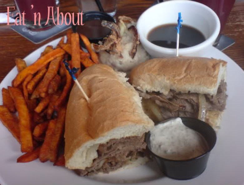 Original Joe's Beef Dip with Garlic Mashed Potatoes and Sweet Potatoe Fries
