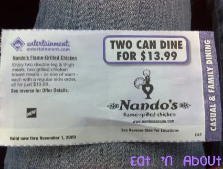 Nando's Entertainment Book Coupon
