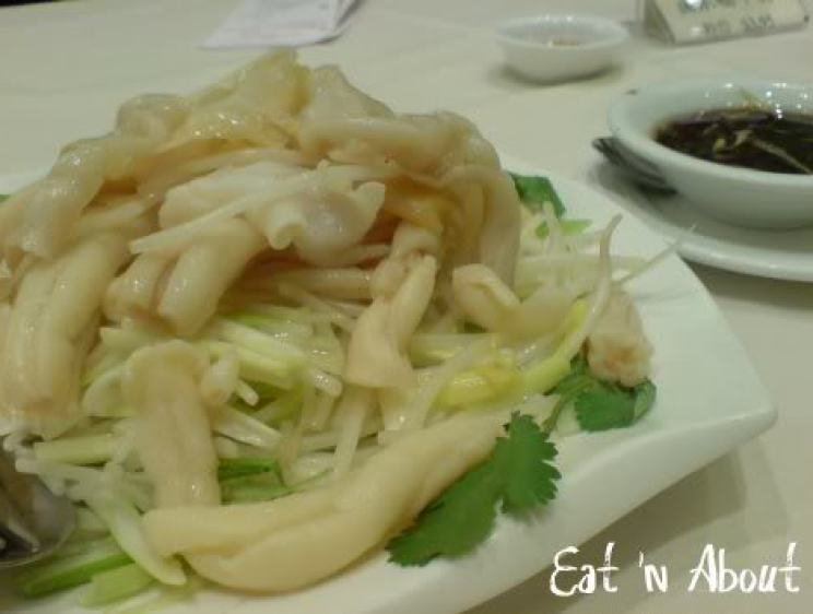 Red Star Seafood: blanched geoduck clam and sea cucumber stomach