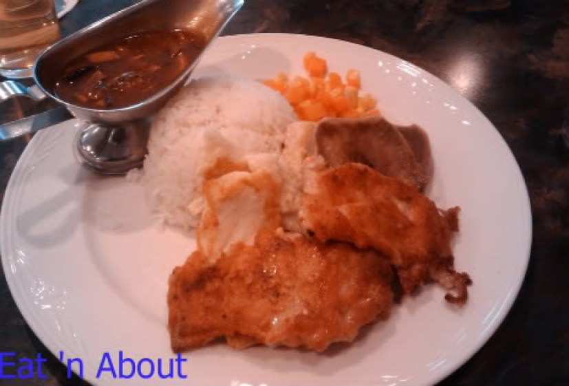 Alleluia Cafe: 3-dish rice combo with Mushroom Sauce: ox-tail, fish filet, and chicken