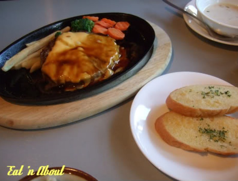 Barefoot Kitchen: Teriyaki Cheese Hamburg steak set with garlic bread