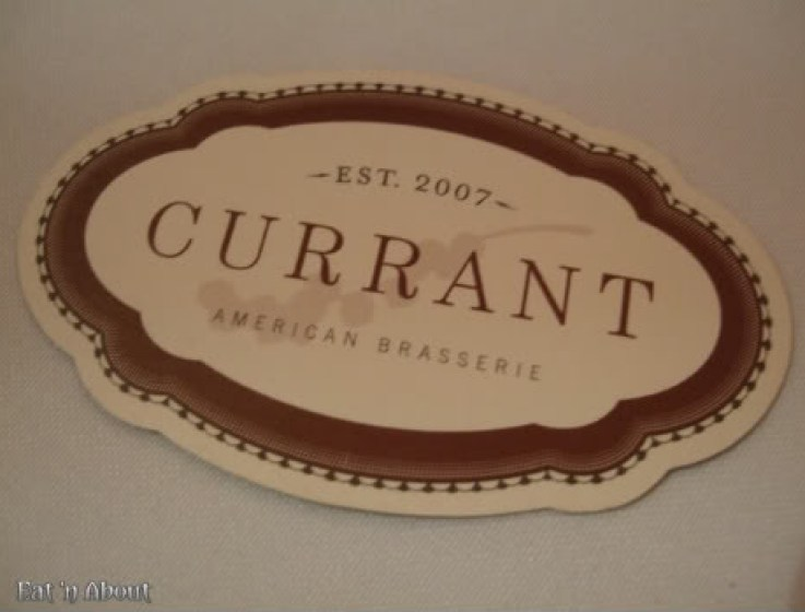 Currant American Brasserie business card