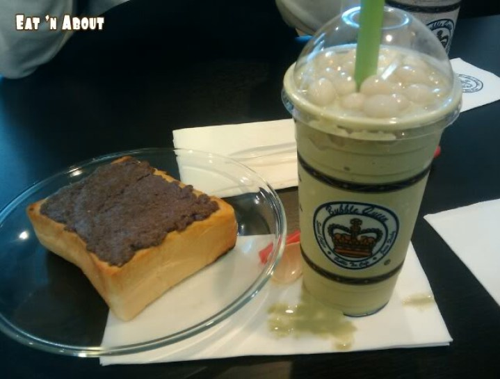 Bubble Queen: Green Tea Slush with mochi and Thick Toast with Taro
