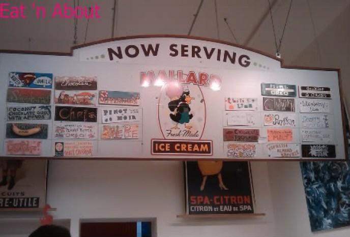 Mallard Ice Cream menu