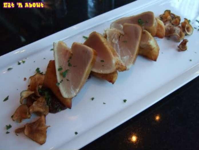 hidden: Smoked and seared albacore tuna with gorgonzola stuffed tatertots, kalamata coulis and sunchoke chips