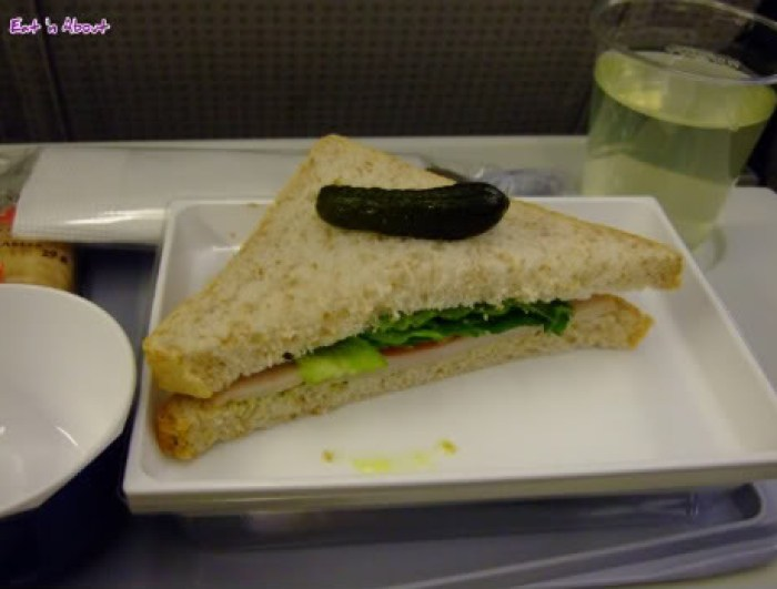 Japan Airlines: half of a turkey sandwich