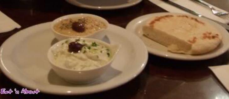 White Tower: tzatziki, hommous and pita bread
