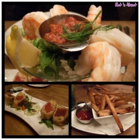 Chop Steakhouse: Jumbo Prawn Cocktail, Fresh Ahi Tuna Pillars and fries
